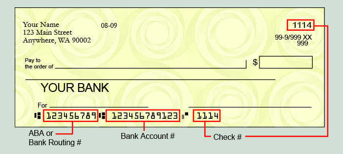 sample check indicating Routing and ABA numbers. Please contact Traditions Bank for additional assistance